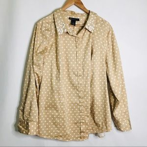 Lane Bryant cream and tan jeweled button up